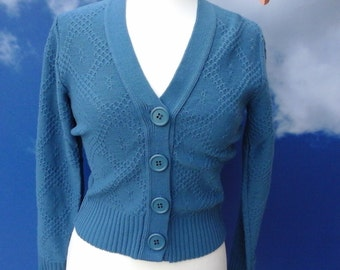 vintage vest cardigan  from 60 or 70 flower power still new large buttons new mint