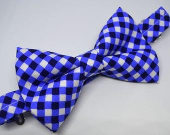 Midnight Blue Cross Check Bow Tie , boy bow tie, baby bow tie, adult bow tie, men's bow tie, Blue bow tie, plaid bow tie, wedding bow tie