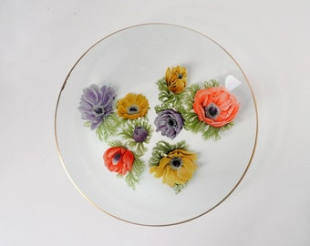 Vintage 'Anemone' Medium Plate by Chance Glass
