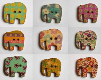 Elephant button floral wooden two holes for scrapbooking