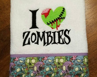 I Love Zombies Bathroom Hand Towel