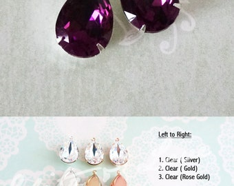 Carrie - Amethyst Purple Swarovski Crystal Teardrop Earrings, Bridesmaid Brides Earrings, Bridal Wedding Jewelry, Bridal shower gifts