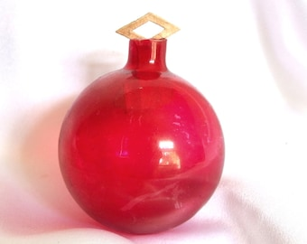 Vintage Unsilvered Christmas Ornament, Red Holiday Ornament