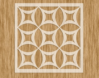 """Art Deco Tile Pattern Stencil - MINI SERIES Sku PAD0100M (5.5"""" x 5.5"""")"""