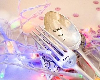 Spoon Me and Fork Me - Pair of Hand Stamped Engraved Spoon and Fork - Vintage Table Spoon