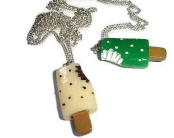 Kawaii Necklace Fun Necklace Summertime necklace popsicle necklace Whimsical necklace a bite out popsicle food necklace