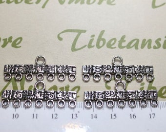 6 pcs per pack 37x7mm Mayan Glyph End Bar 7 strands Antique Silver Lead Free Pewter