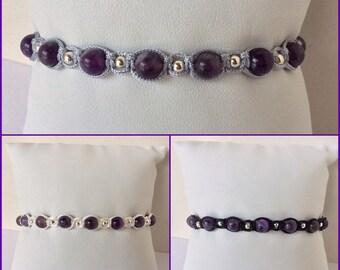 Sterling Silver Amethyst Macrame Adjustable Bracelet