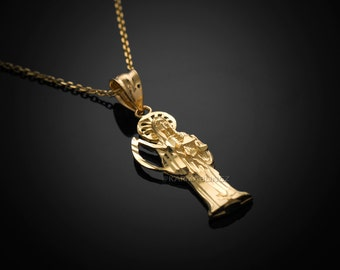 Gold Santa Muerte Charm Necklace (10k, 14k, yellow, white, rose gold)