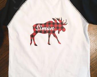 Kids Personalized Moose Shirt/Buffalo Check/Baseball T-Shirt/Holidays/Christmas