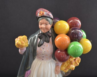 Royal Doulton Vintage Figurine Biddy Penny Farthing HN1843 Lady with Balloons