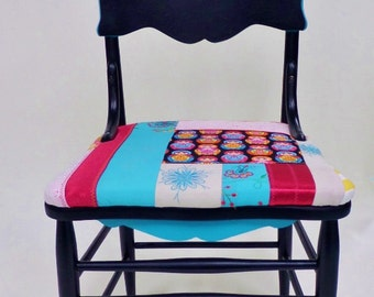 Vintage Wood Dining Chair with Paisley and Nesting Doll Design - Antique Refurbished Boho Seat - Black, Magenta, Aqua Blue