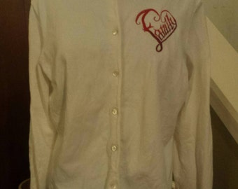 White cardigan with family heart embroidery