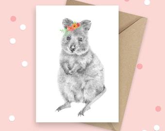 Quokka Greeting Card, Australian Native, Animal Birthday Card, Australian Souvenir Card, Native Animal, Blank Card, Thank You Card