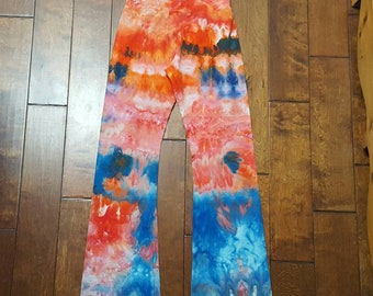 Yoga Pants, Medium Size, Womens yoga pants, Tie Dye Yoga Pants, American Apparel, Cotton Boho Pants, Bohemian, Festival pants, workout pants