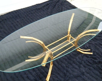 Vintage Gold Gilt Faux Bamboo Coffee Table