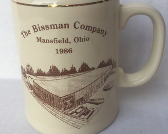 1986 Beer Stein The Bissman Company Mansfield, Ohio Haunted Building