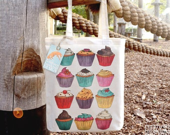 Cupcakes Tote Bag, Ethically Produced Reusable Shopper Bag, Cotton Tote, Shopping Bag, Eco Tote Bag, Stocking Filler