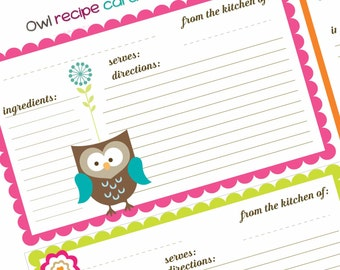 Cute Owl Themed Recipe Cards - digital sheet, collage sheet, instant download ,digital download - Four Handmade Desings