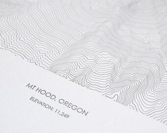 Mount Hood Topographic Poster - Letterpress