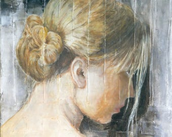 """FREESHIPPING Original Figurative Young Girl painting  Acrylic on Canvas  27.55""""x23.62""""  (70 x 60 cm)"""