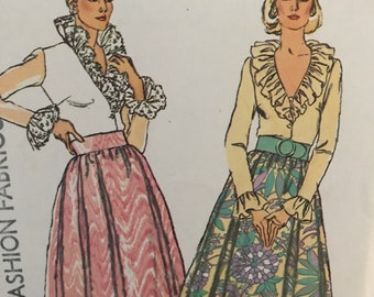Elegant Maxi Skirt and Sheer Ruffled Blouse Pattern---Simplicity 5896---Size 14 Bust 36  UNCUT