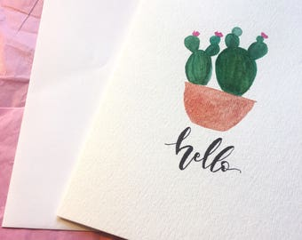 Watercolor Castus Cacti Hello Greeting Note Card