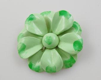 Vintage Mint Green Enamel Flower Brooch