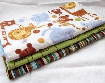Baby Boy Burp Cloth Gift Set - Jungle Junction - Set of 3 Designer Burp Pads