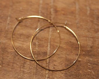 Gold Small 30mm 1 inch Hoop Earrings | Thin Gold Hoop Earrings