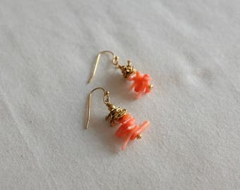 Peach Coral and Gold Earrings