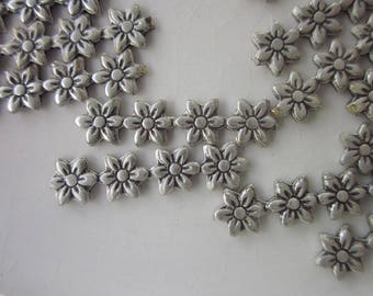30 Vintage Antiqued-Silver Brass Stampings, Row of Flowers, 5mm wide, Mixed Lengths