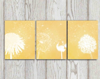 Abstract flower wall art Dandelion art Set of 3 Mustard yellow Wall prints Printable Autumn home decor Bedroom decor 8x10 INSTANT DOWNLOAD