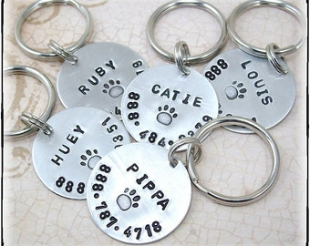 Personalized Customized Hand Stamped Dog ID Tag For Large Dogs Your Choice Aluminum or Copper