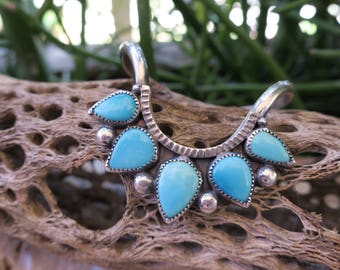 One Sleeping Beauty Turquoise Drop Cuff. Sterling silver turquoise stacking cuff. E0001