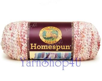 PARFAIT Homespun yarn, Coral Lion Brand HomeSpun bulky yarn, acrylic, shades of coral pink yarn coral bulky yarn, Textured variegated yarn