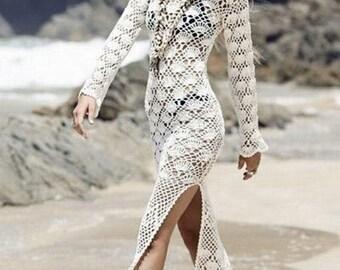 Crochet Dress, Long Dress, White Dress, Long White Dress, Beach Wedding, Beach Apparel, Cotton Dress, Bridesmaid Dress