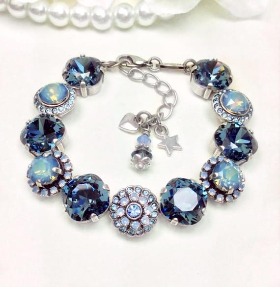 "Swarovski Crystal ""Rosetta in Denim"" - Denim /Starshine Opal/Air Blue Opal- 12mm/ 8mm Embellished  Wrist Candy Bracelet - FREE SHIPPING"