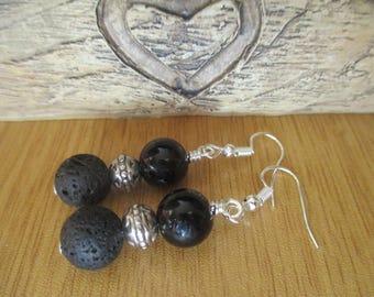 Black Onyx, Lava Rock and Tibetan Silver Dangle Earrings