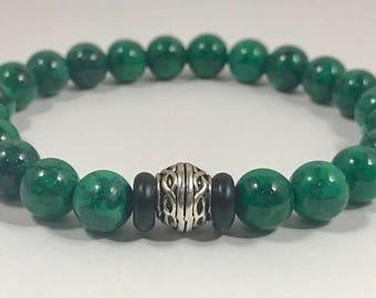 Men's Green Gemstone w/ Silver Accent Bead Bracelet