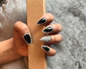Full cover false nails Black Dramatic Edge Stiletto NAILS x20 +free application kit