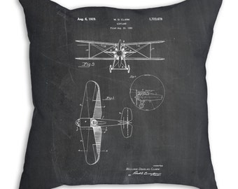Staggered Biplane Airplane Pillow, Airplane Nursery Bedding, Airplane Decor, Airplane Patent, PP0068
