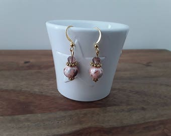 Round pink and gold glass beads earrings