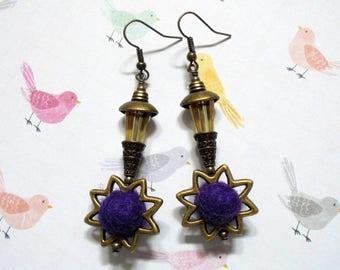 Purple and Golden Topaz Sunburst Earrings (3566)