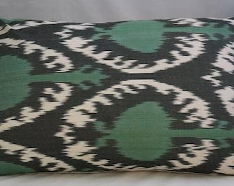 Green Black White Hand Loomed İkat Silk Lumbar Pillow Uzbek Ikat Lumbar Bolster  Pillow Cover 14 x 22 inches