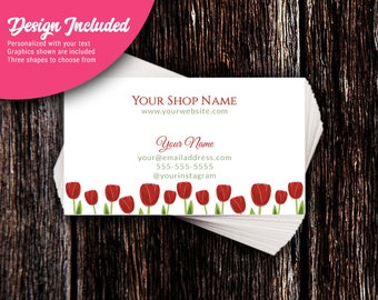 Business Cards - Custom Business Cards - Personalized Business Cards - Mommy Calling Cards - Red Tulips