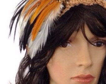 Outlander Scottish Forest Feather Headband Claire Tan Brown Diana Gabaldon Pheasant Hair Accessories FREE SHIPPING