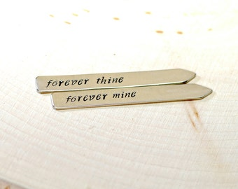 Forever thine forever mine sterling silver collar stays for weddings and love - Solid 925 CS434