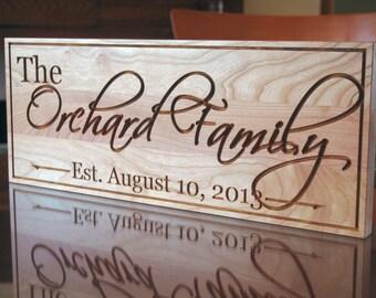 Family Name Sign, Wood Established Sign, Custom Date Sign, Custom Wedding Sign, Carved Wooden Sign, Benchmark Custom Signs, Cherry OG