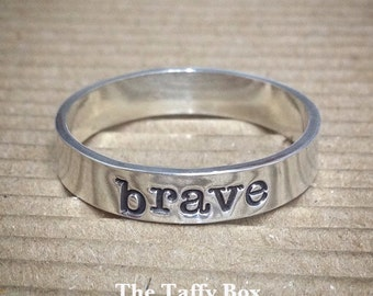 Brave Hand Stamped Ring Sterling Silver